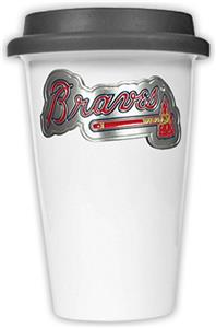 MLB Braves 12oz Double Wall Ceramic Cup Black Lid