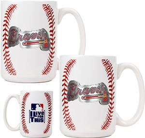 MLB Braves 15oz. Ceramic Gameball Mug Set of 2
