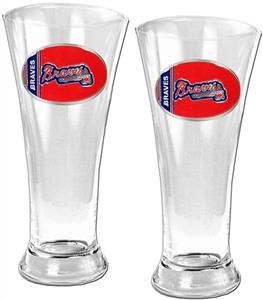MLB Atlanta Braves 2 Piece Pilsner Glass Set