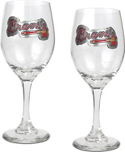 MLB Atlanta Braves 2 Piece Wine Glass Set