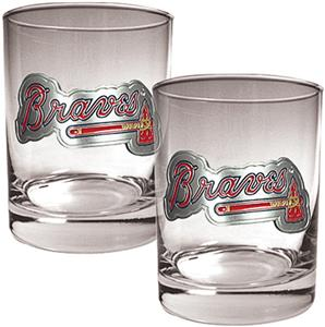 MLB Atlanta Braves 2 piece 14oz Rocks Glass Set