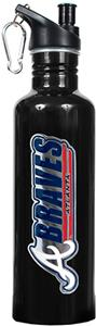 MLB Braves 26oz Black Stainless Water Bottle