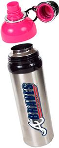 MLB Braves 24oz Stainless Water Bottle w/Pink Top