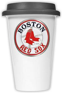 MLB Red Sox 12oz Double Wall Ceramic Cup Black Lid