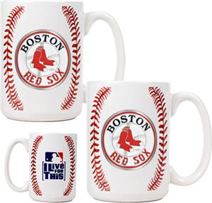 MLB Red Sox 15oz. Ceramic Gameball Mug Set of 2