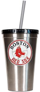 MLB Red Sox 16oz Stainless Steel Tumbler w/Straw