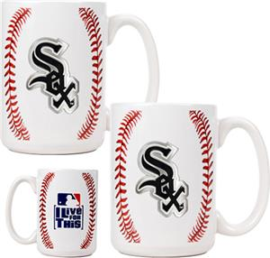 MLB White Sox 15oz. Ceramic Gameball Mug Set of 2