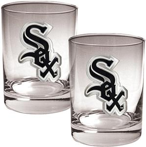 MLB Chicago White Sox 2 piece 14oz Rocks Glass Set