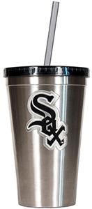 MLB White Sox 16oz Stainless Steel Tumbler w/Straw