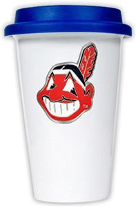 MLB Indians 12oz Double Wall Ceramic Cup Blue Lid