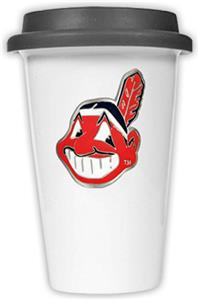 MLB Indians 12oz Double Wall Ceramic Cup Black Lid