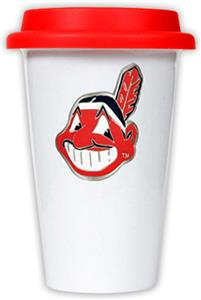 MLB Indians 12oz Double Wall Ceramic Cup w/Red Lid