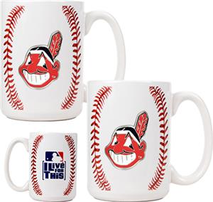 MLB Indians 15oz. Ceramic Gameball Mug Set of 2