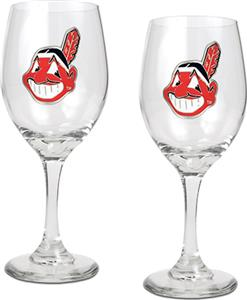 MLB Cleveland Indians 2 Piece Wine Glass Set