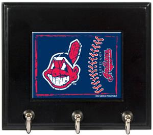 MLB Cleveland Indians Wood Keyhook Rack