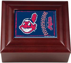 MLB Cleveland Indians Mahogany Keepsake Box