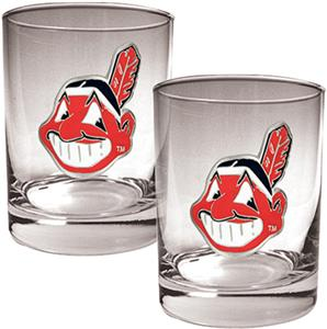 MLB Cleveland Indians 2 piece 14oz Rocks Glass Set