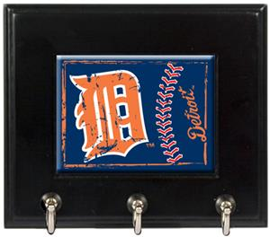 MLB Detroit Tigers Wood Keyhook Rack