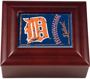 MLB Detroit Tigers Mahogany Keepsake Box