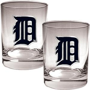 MLB Detroit Tigers 2 piece 14oz Rocks Glass Set