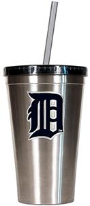 MLB Tigers 16oz Stainless Steel Tumbler w/Straw