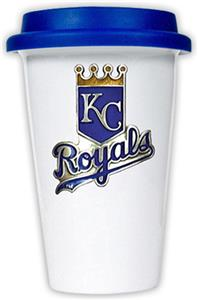 MLB Royals 12oz Double Wall Ceramic Cup Blue Lid