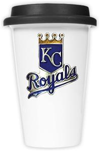 MLB Royals 12oz Double Wall Ceramic Cup Black Lid