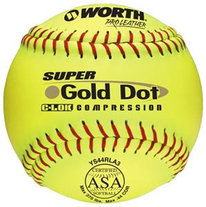 "Worth 12"" ASA Gold Dot Leather Slowpitch Softballs"