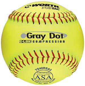 Worth 12&quot; ASA Gray Dot ProTac Slowpitch Softballs