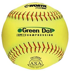 Worth 11&quot; ASA Green Dot ProTac Slowpitch Softballs