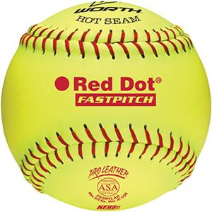 "Worth 12"" ASA Red Dot Leather Fastpitch Softballs"