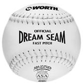 "Worth 12"" ASA Dream Seam White Fastpitch Softballs"