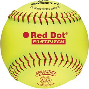 "Worth 11"" ASA Red Dot Leather Fastpitch Softballs"