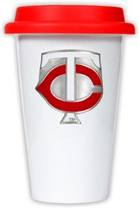 MLB Twins 12oz Double Wall Ceramic Cup Red Lid