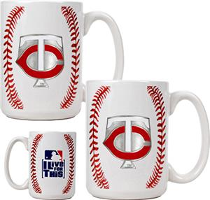 MLB Twins 15oz. Ceramic Gameball Mug Set of 2