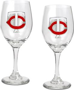 MLB Minnesota Twins 2 Piece Wine Glass Set
