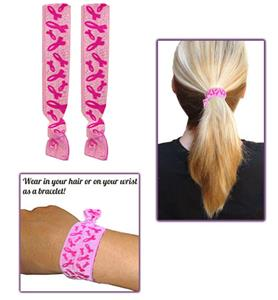 Pink Ribbon No-Tug Elastic Hair Ties - Pair