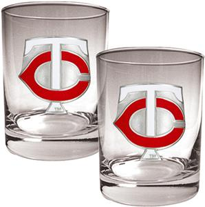 MLB Twins 2 piece 14oz Rocks Glass Set