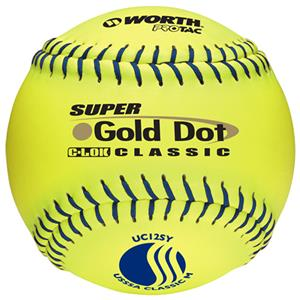 "Worth 12"" USSSA Gold Dot PT Slowpitch Softballs"
