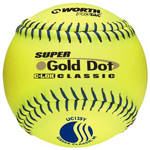 "Worth 12"" USSSA Gold Dot PT Slowpitch Softballs"