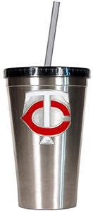 MLB Twins 16oz Stainless Steel Tumbler w/Straw
