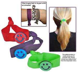 Smiley Face No-Tug Elastic Hair Ties/Bracelets