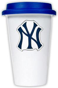 MLB Yankees 12oz Double Wall Ceramic Cup Blue Lid