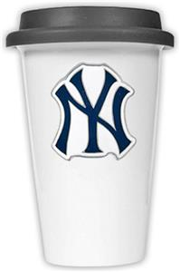 MLB Yankees 12oz Double Wall Ceramic Cup Black Lid