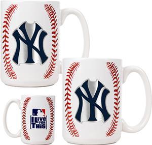 MLB Yankees 15oz. Ceramic Gameball Mug Set of 2
