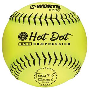 "Worth 12"" NSA Hot Dot SYCO Slowpitch Softballs CO"