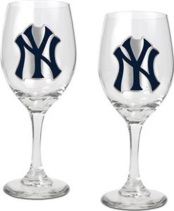 MLB New York Yankees 2 Piece Wine Glass Set