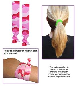 Pink Camouflage No-Tug Elastic Hair Ties/Bracelets