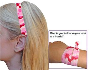 Pink Camouflage Elastic Headbands/Wristbands