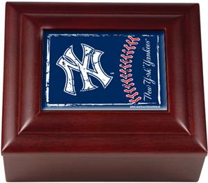 MLB New York Yankees Mahogany Keepsake Box